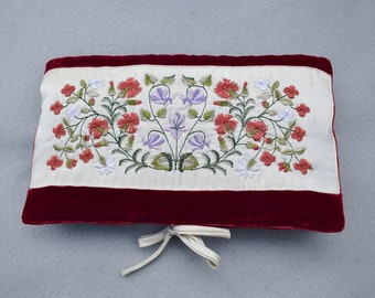 Embroidered Silk on Velvet Jewelry Travel Pouch Vintage