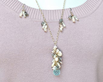 Freshwater Pearls, Aquamarine, and Sterling Chain Necklace & Earrings