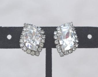 Unique Shape Rhinestone Earrings Mid Century Vintage