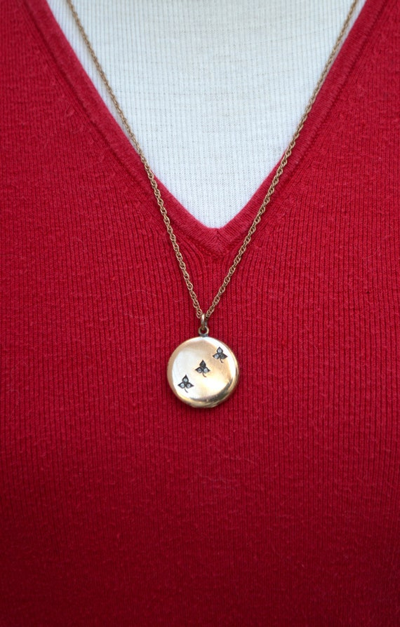 Gold Filled Edwardian Locket Necklace with Paste S