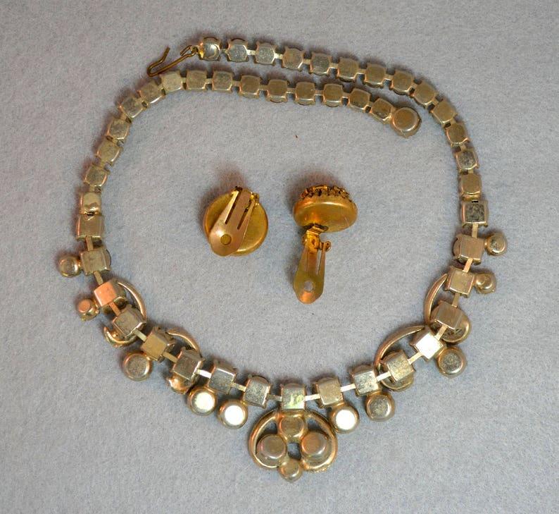 Weiss Rhinestone Necklace /& Earring Set Vintage