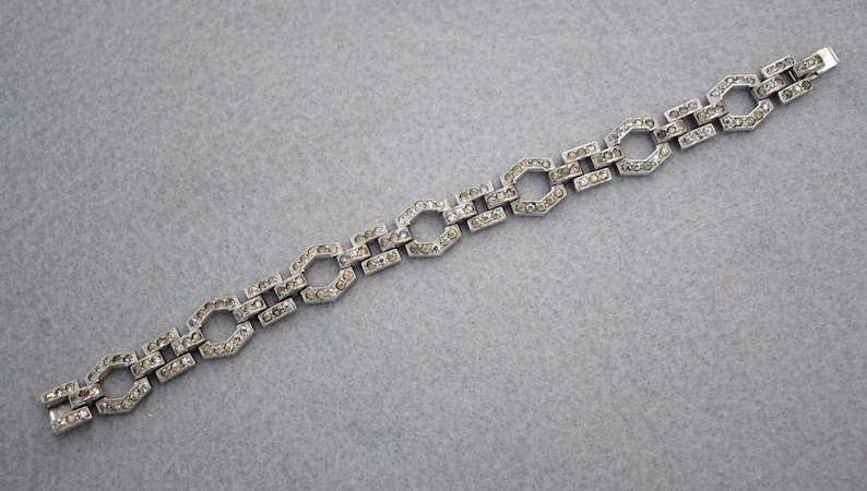 Art Deco Rhinestone Bracelet Mid Century Vintage