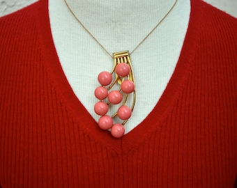 Coral Color Beaded Dress Clip or Necklace Mid Century Vintage