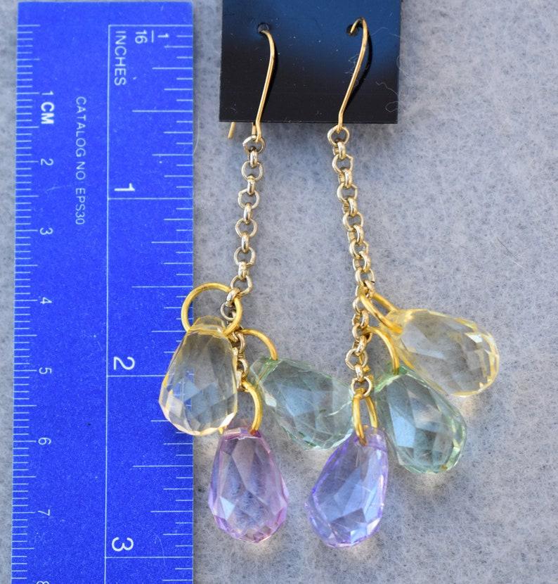 Faceted Teardrop Dangle Earrings Tri Color Vintage