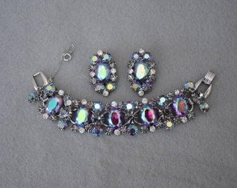 Juliana Vitrial Rhinestone Bracelet and Earrings Vintage