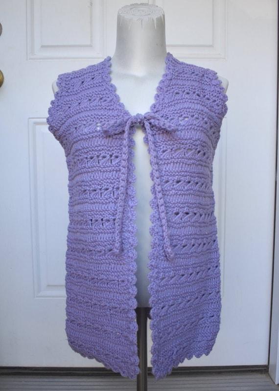 Hand Crochet Sweater Vest Size Small Medium Vinta… - image 1