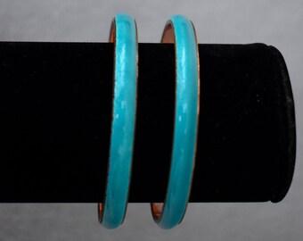 Matisse Renoir Teal Blue Enamel Bracelet Pair Vintage