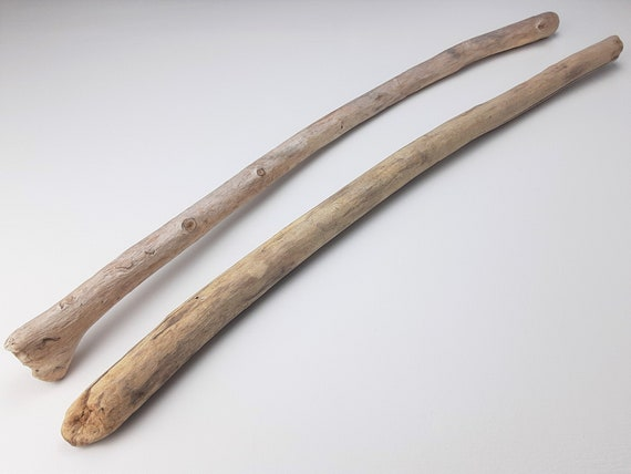 "2 Slightly Curved Driftwood Branches, 27-28"" Long"