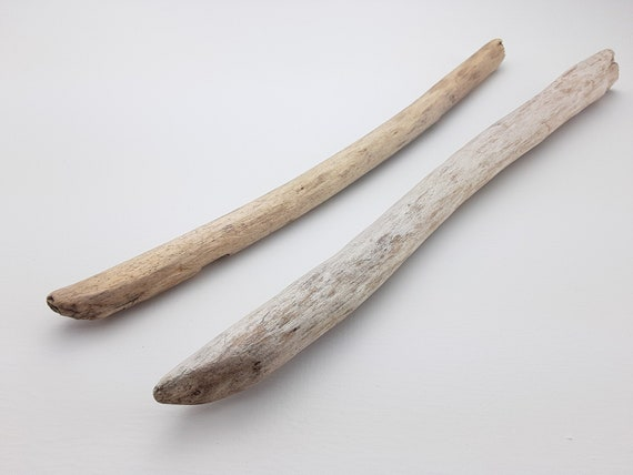 """2 Straight, Light Color Driftwood Branches, 12-13"""" Long"""