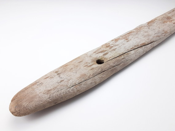"Long Driftwood Board With Rounded Tip And Holes, 46.5"" Long"