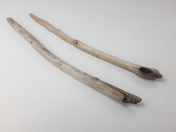 """2 Mostly Straight, Medium Driftwood Branches, 14 - 15"""" Long"""