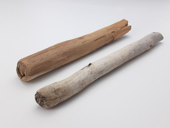 """2 Straight, Thick Driftwood Branches, 9.5-10.5"""" Long"""