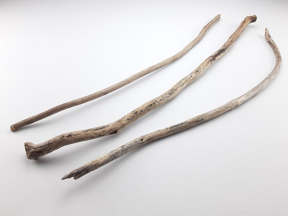 """3 Thin, Slightly Curved Driftwood Branches, 25-26.5"""" Long"""