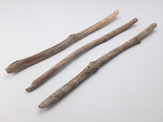 """3 Mostly Straight, Narrow Driftwood Branches, 15-16"""" Long"""