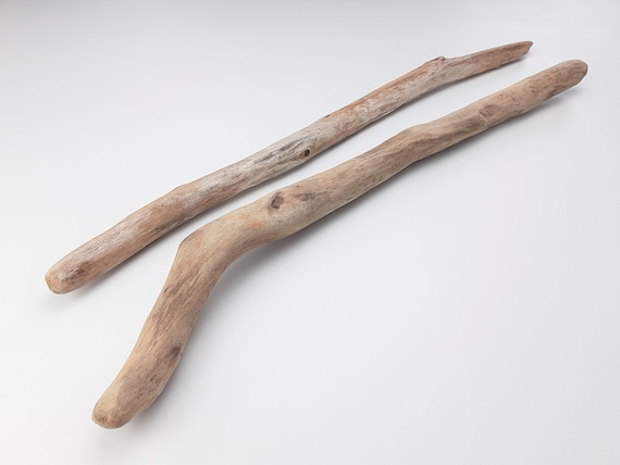 "2 Light-Colored Driftwood Branches, 20.25 - 21.5"" Long"