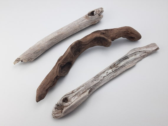 """Beachy Driftwood Pieces, Rough and Weathered, Set Of 3, 13 1/2 - 14"""" Long"""