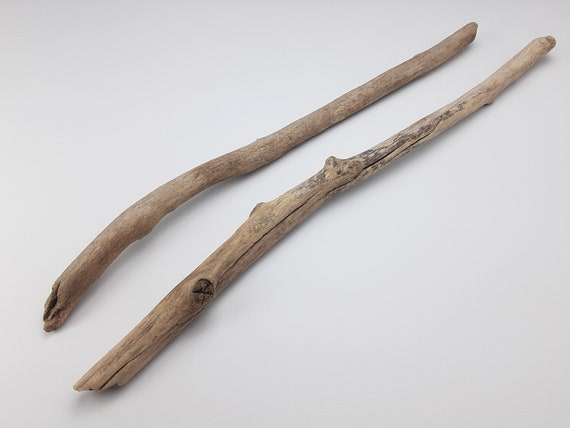 """2 Mostly Straight Driftwood Branches With Textured Surface, 20 - 21.5"""" Long"""