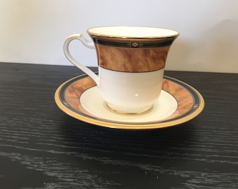 Noritake CABOT UNUSED Footed Cup and Saucer Set Discontinueed