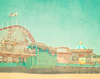 Santa Cruz, California, Boardwalk, Pastel Art, Dreamy, Summer, Color, Aqua, West Coast, Palm Trees, Vintage Style, Baby Nursery, Carousel