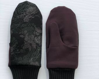 Fingerless gloves, warm mittens, winter mittens, lined with fleece,
