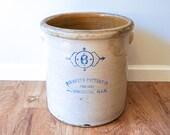 Authentic Vintage 6 Gallon Monmouth Pottery Crock - Illinois