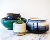Gorgeous Vintage Round Glazed Ceramic Planters (Sold Separately)