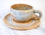 Set of 5 Vintage Glazed Ceramic Tea Cups and 6 Saucers