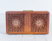 Beautiful Vintage Bohemian Hand Carved Wooden Jewelry Trinket Box With Shell Inlay and Brass Handles