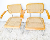 4 LEFT! - Vintage Marcel Breuer Style Chairs with Arms in a Blonde Stain (SOLD SEPARATELY)