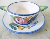 Vintage Italian Ceramic Floral Cup and Saucer - Made in Italy