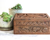 Vintage Bohemian Hand Carved Wooden Trinket Box - Made in India