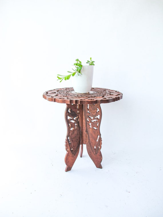 Beautiful Hand Carved Bohemian Vintage Accent Tables (Sold Separately) - Made in India