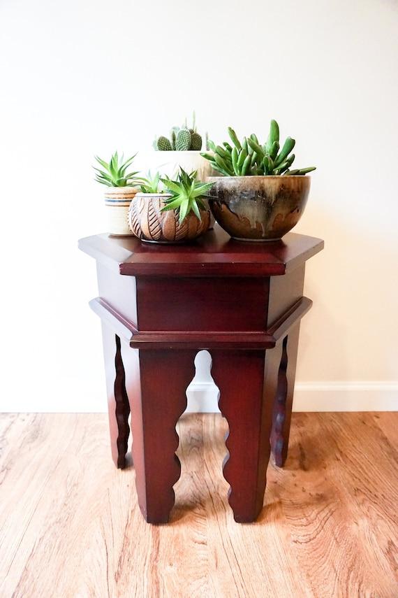 Bohemian Moroccan Style Wood Hexagon Side Table