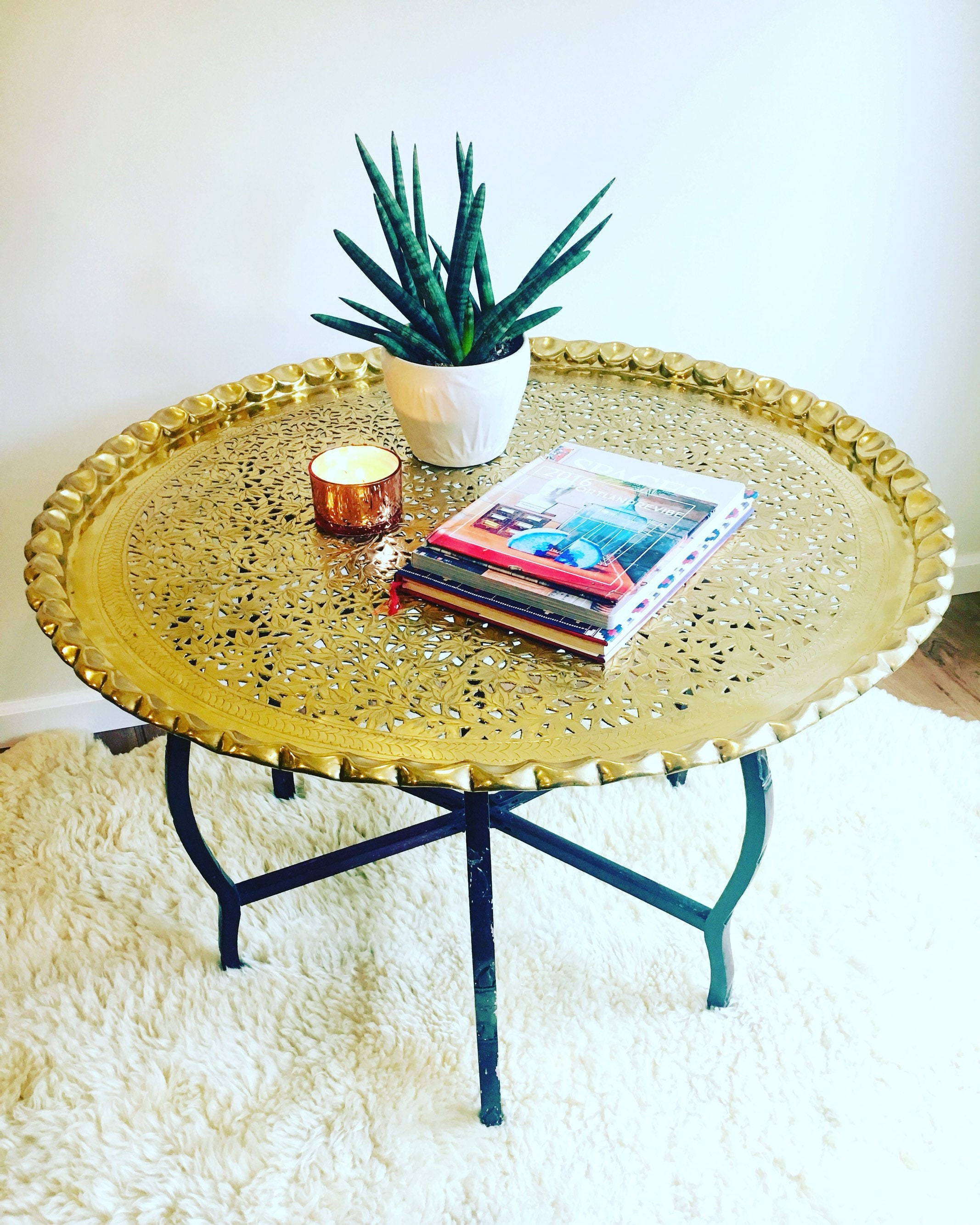 Vintage Mid Century Round Brass Coffee Table With Folding Etsy