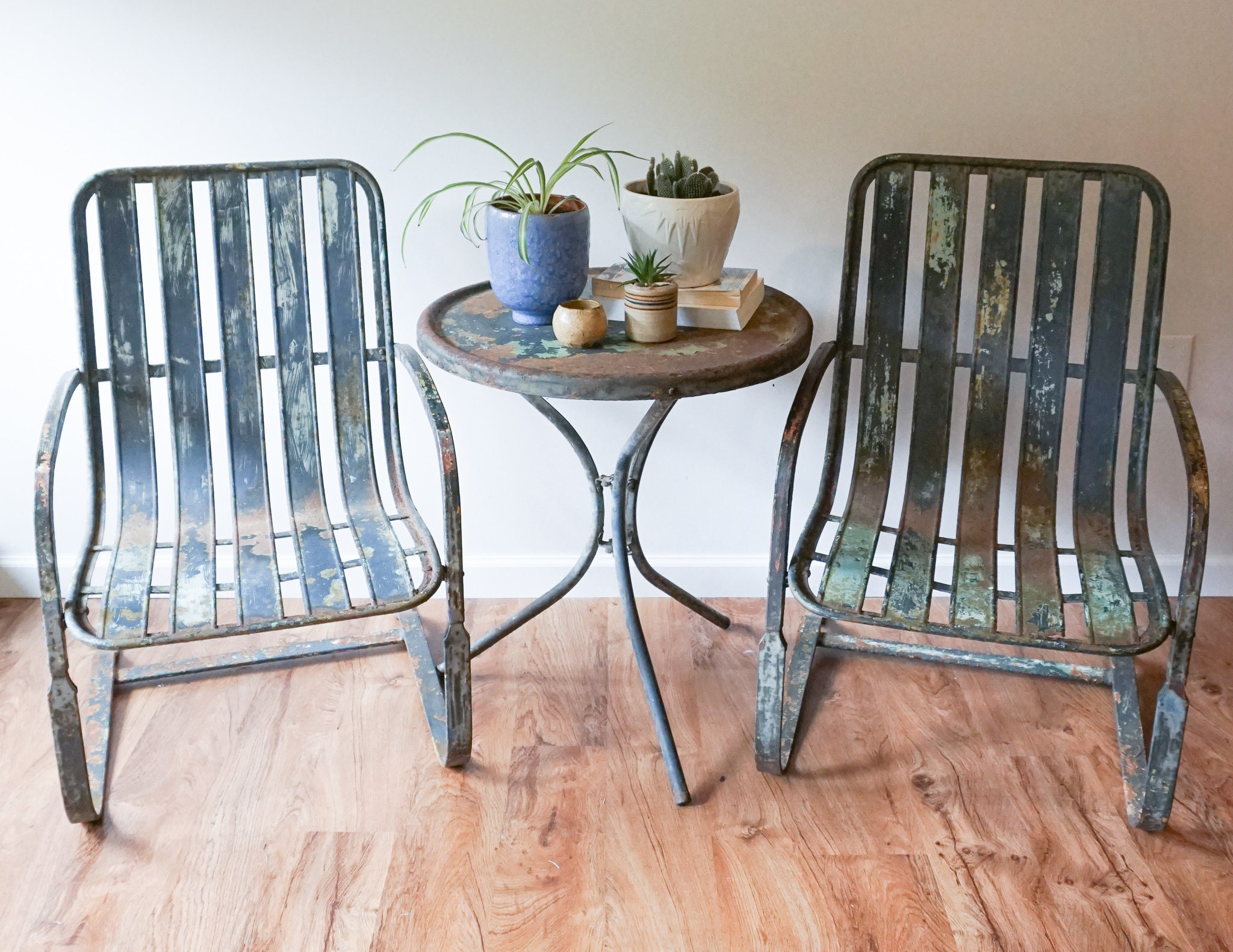 Set of 2 Industrial Weathered Metal Patio Lounge Chairs ...
