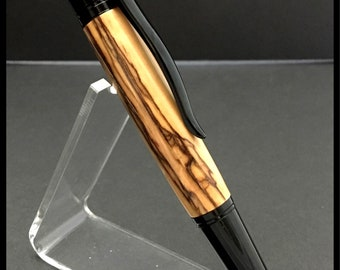 Bethlehem Olive Wood Pen with Black Enamel - minister gift Pastor Appreciation Gift