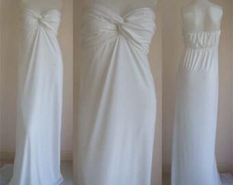 White Strapless  sun beach Long maxi dress all size