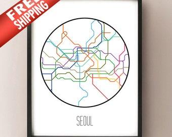Seoul Subway Map 1980s.Subway Etsy