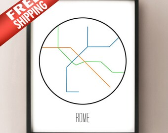 Rome Italy Subway Map.Rome Metro Map Etsy