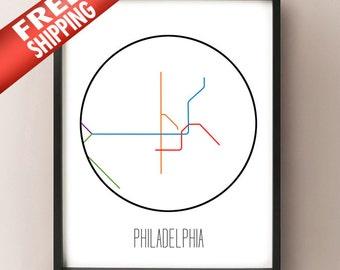 Philadelphia Subway Map Patco.Philadelphia Subway Etsy