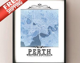 Map as a blueprint etsy perth vintage style blueprint map art print perth western australia city map decor malvernweather Image collections