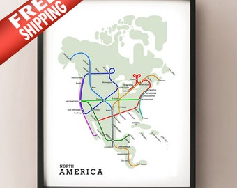 North America Subway Map - Metro Subway Style