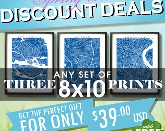 """Three 8x10 Prints for 39 usd - Spring SALE - Choose any three 8"""" x 10"""" - Multiple Order Discount - Map Art Decor"""