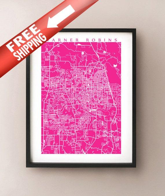 Warner Robbins Georgia Map.Warner Robins Ga Map Print Georgia Poster Home Decor Etsy