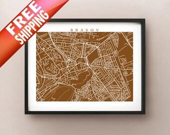 Brasov Map Print - Romania City Art
