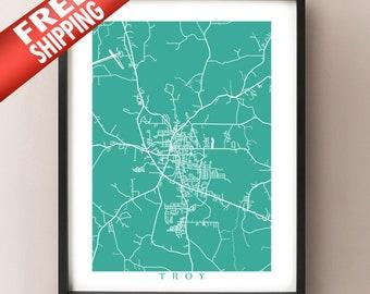 Troy, AL Map Print - Alabama Poster