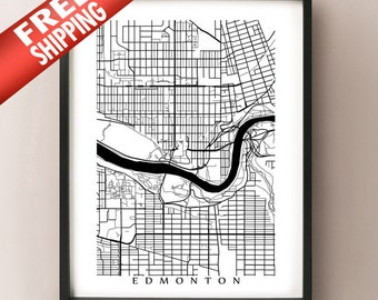 Edmonton Poster Map - Alberta Art Print - Black and White