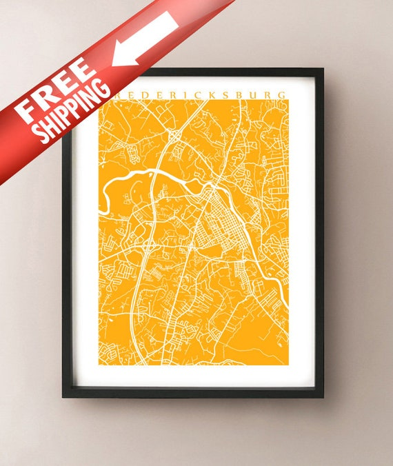 Fredericksburg Virginia Map.Fredericksburg Va Map Virginia Poster Etsy