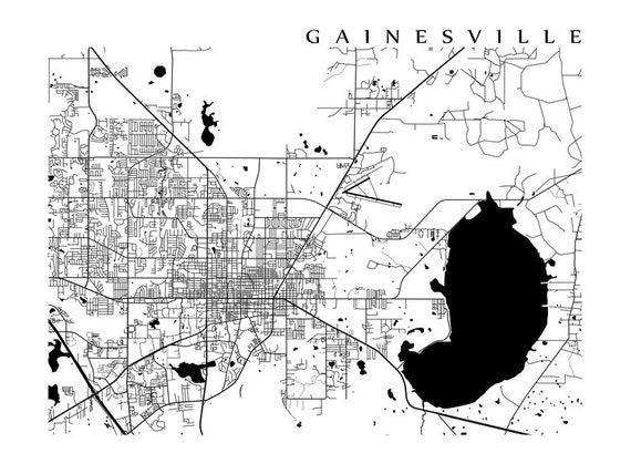 Gainesville Fl Map Black And White Etsy