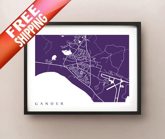 Gander Canada Map.Gander Map Newfoundland Poster Etsy